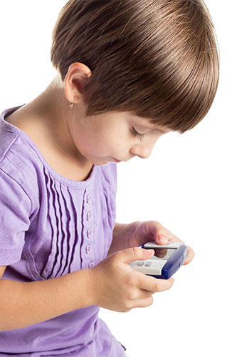 young girl playing a video game